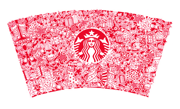 Starbucks Christmas Cup by Basford, stay tuned for JoAnna Basford's first Christmas coloring book due out Autumn 2016