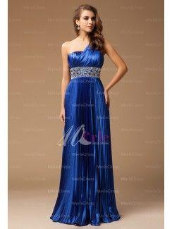 Front:Stunning Sheath/Column One-Shoulder Sleeveless Floor Length Beading Elastic Woven Satin Dresses