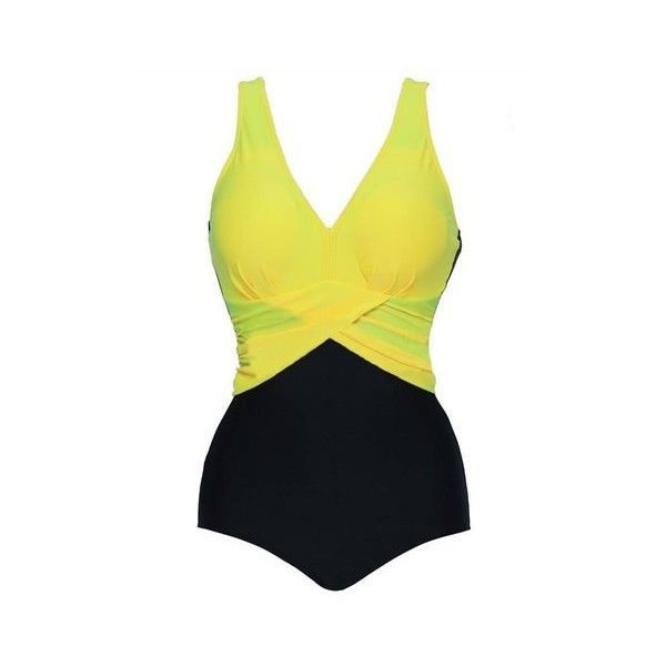 Plus Size High Waist One Piece Swimsuit ($19) ❤ liked on Polyvore featuring swimwear, one-piece swimsuits, women swimwear one piece, yellow, plus size swim suits, plus size swimsuits, high-waisted bikinis and plus size underwire swimsuits
