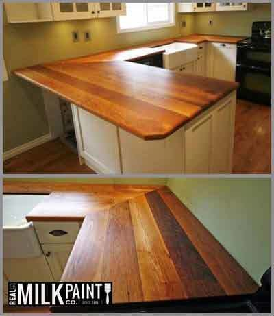 The Rediscovered Wood Floor Company Ltd. www.bloomsfloorswithflair.com Stunning example of reclaimed wood counter tops finished with Pure Tung Oil by The Rediscovered Wood Floor Company Ltd.