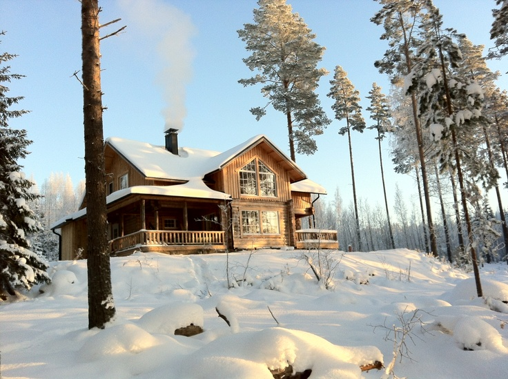"""A cottage in the woods by the lake Konnevesi is ready for renting. Five bedrooms, big living room and kitchen, sauna, two bathrooms. Big movie screen and """"theater equipment"""" for watching movies, slides or tb on a movie screen. Downstairs is suitable for persons with wheelchairs."""
