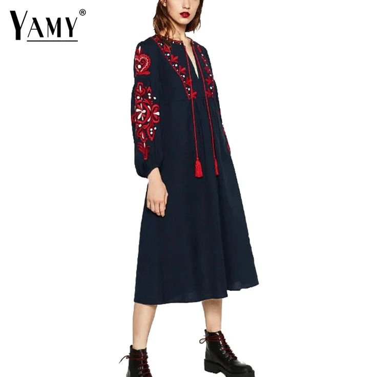 Cheap dress 00, Buy Quality dress patterns prom dresses directly from China dress up time prom dresses Suppliers: Vintage Vestido De Festa Women atumn dress 2016 flower embroidery long sleeve midi dresses 2016 BOHO Drawstring party dresses