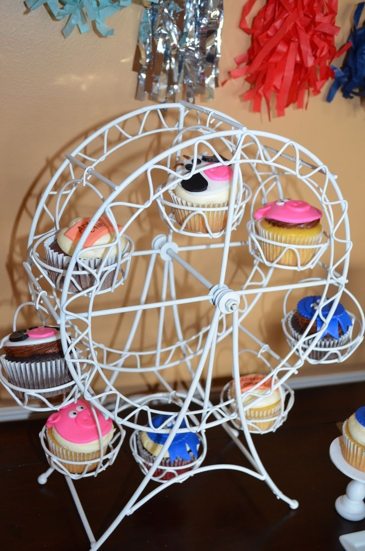 Aren't these the cutest cupcakes for a county fair birthday party! | Party Planning and Styling by Sensational Soirees, Cupcakes by Kakewalk Cupcakes