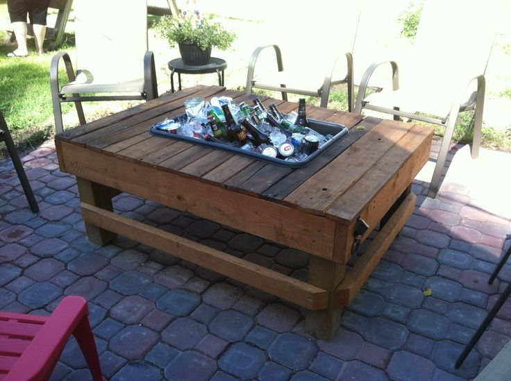141 best images about esky tables on pinterest wooden for Patio table with built in cooler