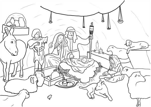 Nativity Jesus Born In Bethlehem In Nativity Coloring