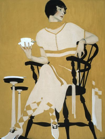 """Coles Phillips (1880-1927) - """"The Magic Hour / Afternoon Tea"""", 1924 - Gouache on paper (advertising poster for Oneida Ltd. Silversmiths)"""