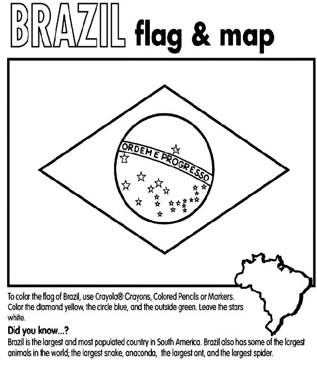 Brazilian flag & map coloring page from Crayola.com