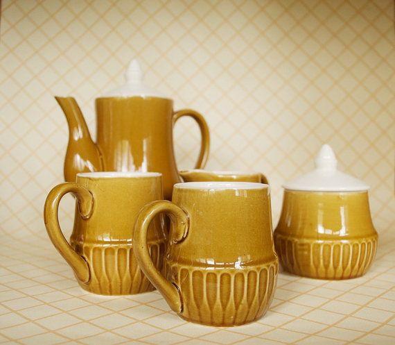 Vintage+Seven+Piece+Glazed+Coffee+Set+by+SomethingKitsch+on+Etsy