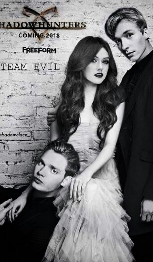 Dominic Sherwood as Jace Herondale, Katherine  McNamara as Clary Fray/Morgenstern, and Will Tudor as Sebastian/Jonathan Morgenstern in the Season 3 promotion of the TV show Shadowhunters The Mortal Instruments