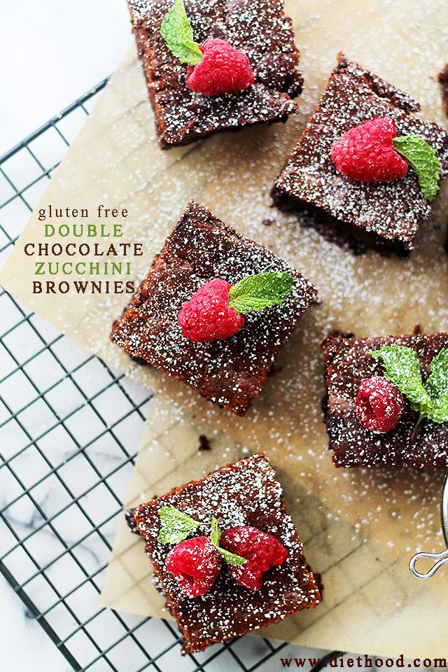Gluten Free Double Chocolate Zucchini Brownies | www.diethood.com | Decadent and fudgy Double Chocolate Brownies made with Zucchini!