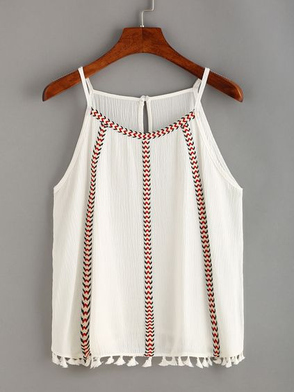 Woven Tape & Tassel Embellished Cami Top