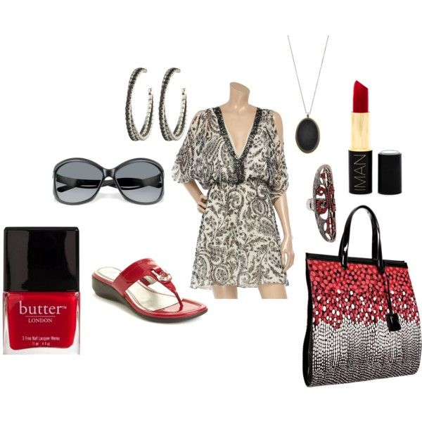 casual black and white beach dress with red accessories, created by trainak on polyvore