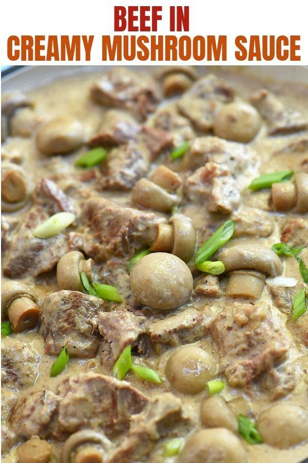 Beef In Creamy Mushroom Sauce Recipe Beef And Mushroom Recipe Stuffed Mushrooms Creamy Beef Stew