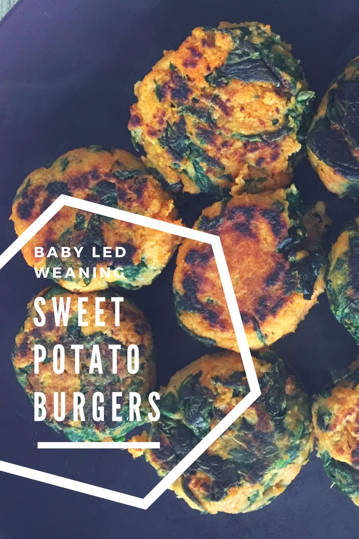 Sweet potato veggie burgers recipe using healthy and nutritious ingredients. Including spinach. These veggie burgers are perfect for baby led weaning or a family dinner.