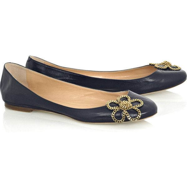 Chloé Capretto leather ballerina flats (5.805 ARS) ❤ liked on Polyvore featuring shoes, flats, sapatos, scarpe, chloe, slip-on shoes, navy flats, navy leather flats, navy ballet flats and ballet shoes