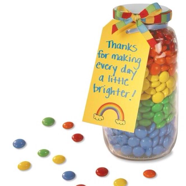Great thank you gift idea, bonus you can make the kids sort and count the colors.