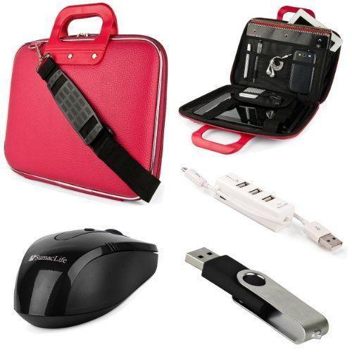 SumacLife Cady Acer Aspire Switch 11  11 V 116inch Laptop and Tablet Briefcase Bag with USB Mouse  4GB Thumbdrive  3 Port USB Hub Pink -- Read more reviews of the product by visiting the link on the image.