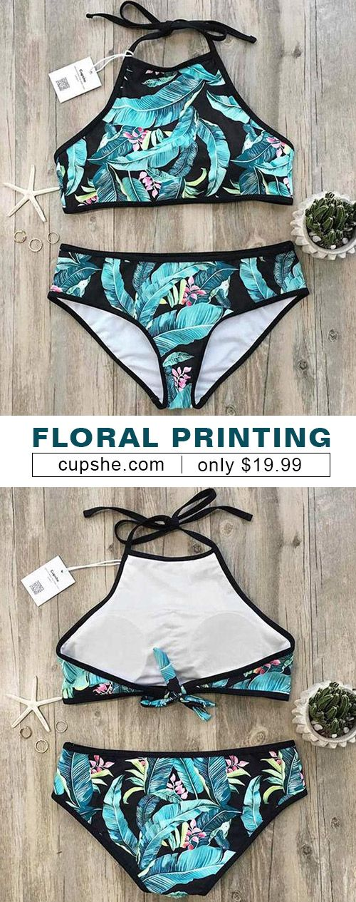 Treat yourself to the hottest items of the season in this halter bikini set. Call your friends or family and taste cool seaside moments together. This tankini set is best for your beach look with its halter&high leg cut design! Check it out.