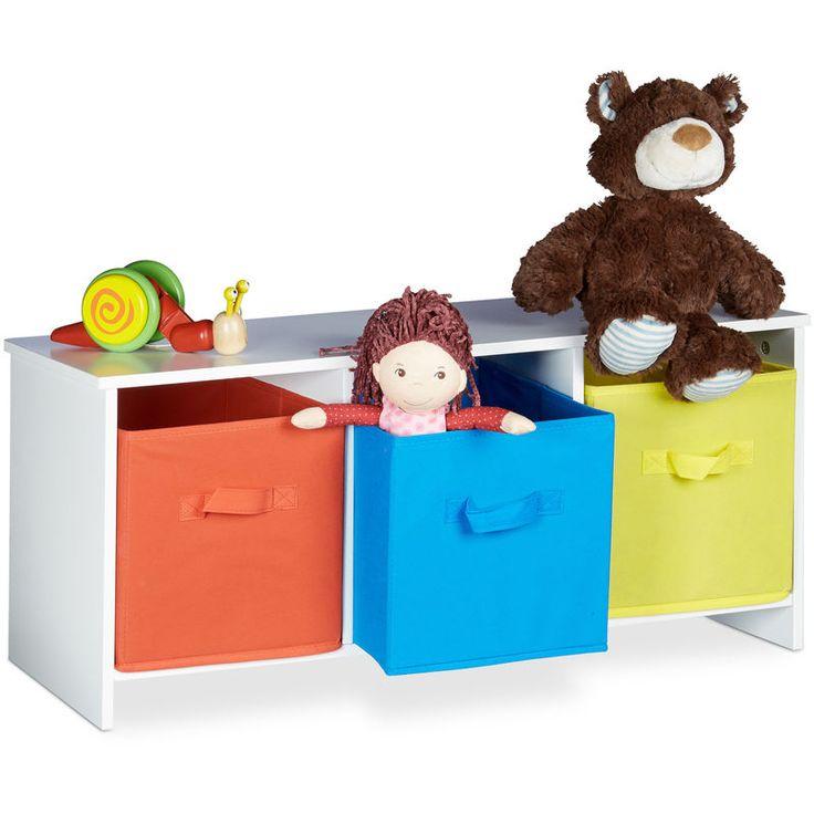 Banc de rangement enfant ALBUS caisse à jouets colorée banc en bois boîte à jouets pliable HxlxP ...
