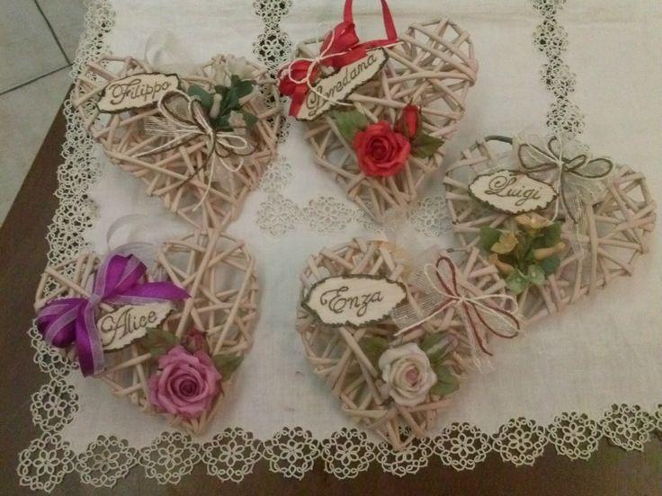 cuori di carta con rose porcellana personalizzati con nome