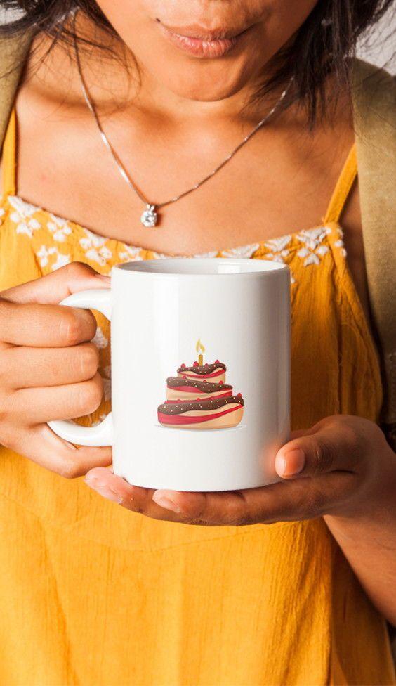 Cake With Candle Coffee Mug