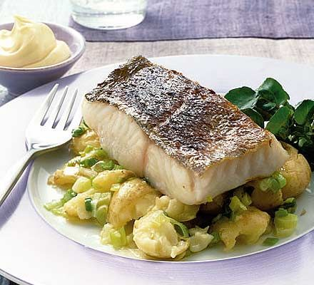 Grilled Fish with New Potato & Spring Onion Crush