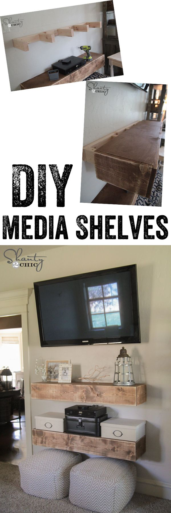 Floating shelvesLOVE these DIY Media Shelves! Great solution for under the TV! Free Woodworking Plans www.shanty-2-chic.com