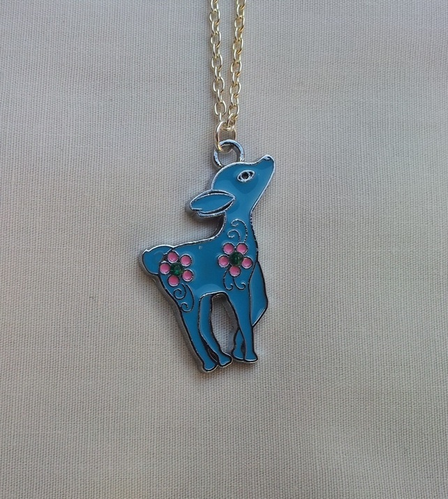 Light Blue Deer Necklace with Pink Flowers and Green Gems