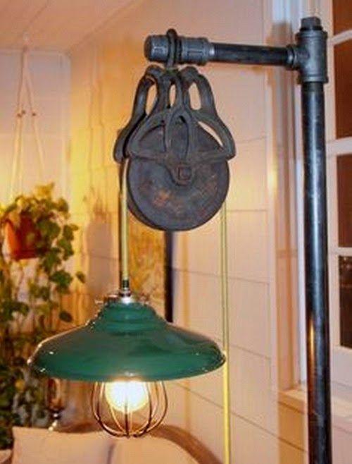 EL MUNDO DEL RECICLAJE: Lámparas hechas con objetos industriales antiguos
