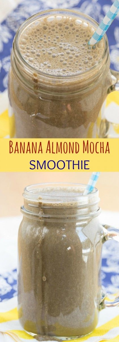 Banana Almond Mocha Smoothie recipe - satisfy your Starbucks Frappuccino cravings in a healthy way with this chocolate and coffee-flavored smoothie for breakfast, snack, or dessert.