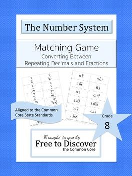 Matching Game: Converting Between Repeating Decimals and Fractions