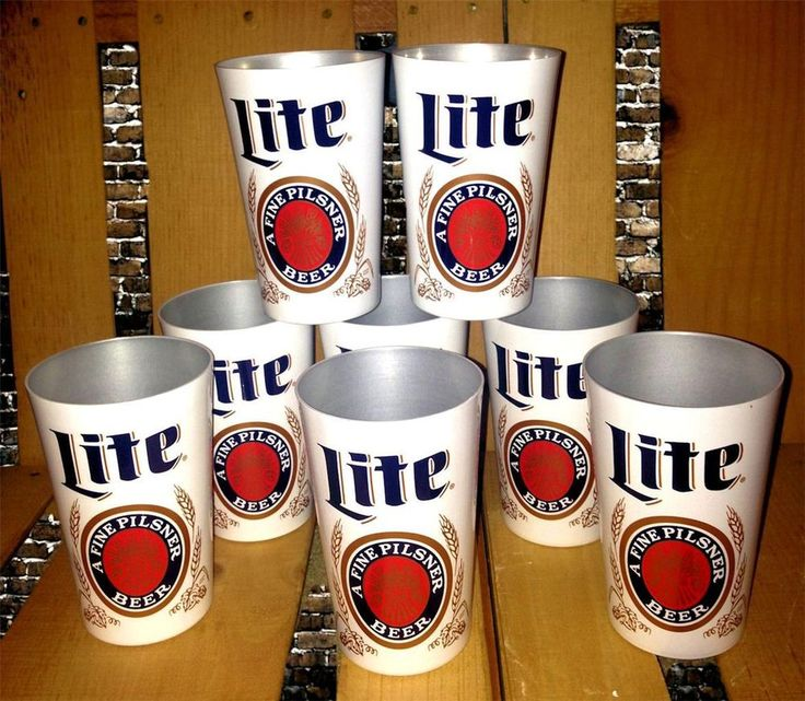 8 New Miller Lite Beer Aluminum Cups Tin Drinking Party