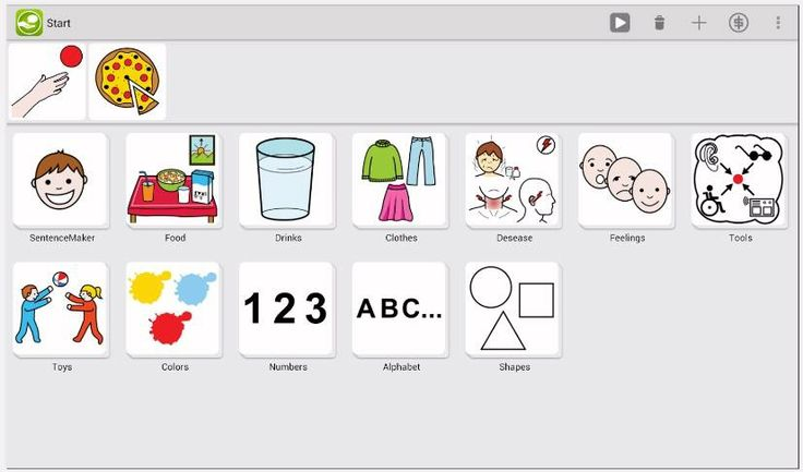 A free AAC talker app for Android which supports communication in all areas of life and therefore providing a voice to everyone.   LetMeTalk enables you to line up images in a meaningful way to read this row of images as a sentence. To line up images is known as PECS (Picture Exchange Communication System) or AAC (Augmentative and Alternative Communication).  https://play.google.com/store/apps/details?id=de.appnotize.letmetalk&hl=es