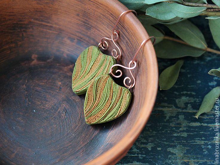 """Купить серьги """"Лесные"""" - оливковый, зеленый, коричневый, зеленые серьги, медь, медный, серьги с медью"""