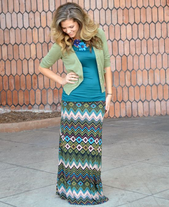 Green Brown and Teal Aztec Maxi Great color combo www.daisyshoppe.com