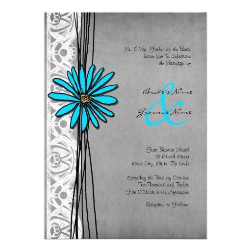 Vintage Grey and Blue Daisy Wedding Invitations
