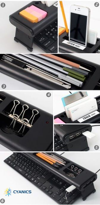 Home & Office #DeskOrganizer wink emoticon #Cyanics #iStick Mini Multifunction Home or Office Desk Organizer with 4 Port USB HUB, Storage Space for Memo Pads. Pens, Paper Clips and More - Provides an easiest way to organize your work space. - Divided compartments allow you to organize all your stationery items. - Size: 19.2 (L) x 3.54 (W) x 1.97 (H) inch. Weight: 1 LB - Material: ABS and Metal and foldable legs #ComputerAccessories #California