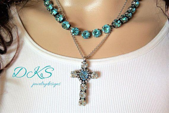 Beautiful Swarovski Crystal Cross Necklace, Bridal,Azure Blue,Turquoise,Heart stone, Halo Crystal,DKSJewelrydesigns,FREE SHIPPING