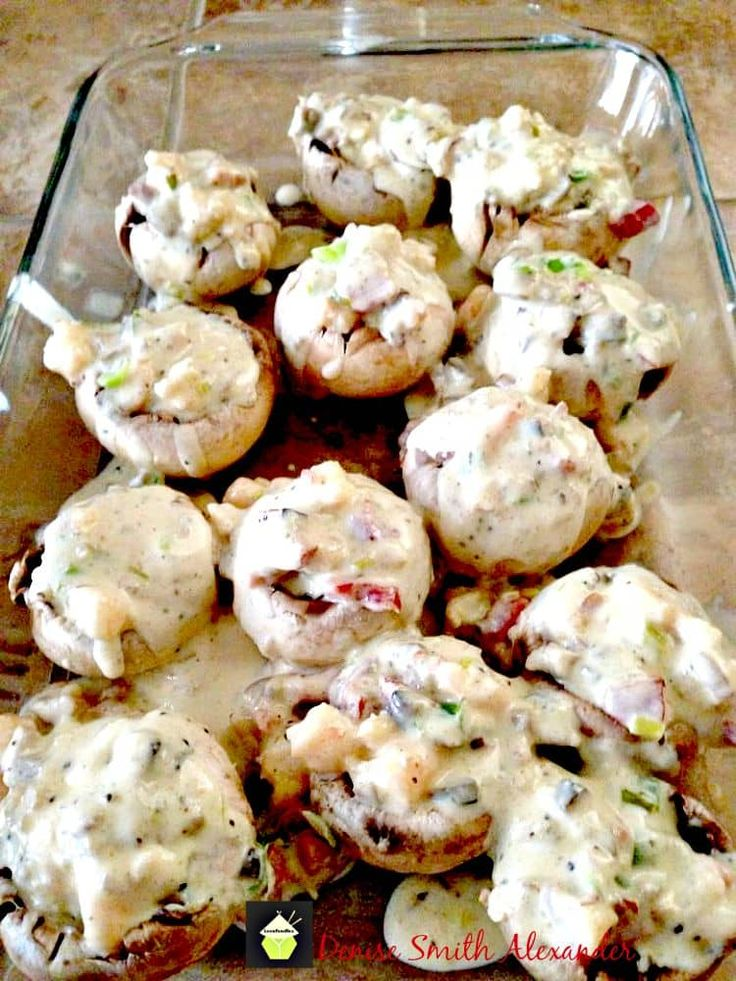 Aunt Nesey's Stuffed Shrimp Mushrooms, stuffed with shrimp and sausage in a creamy cheese sauce. Perfect as a starter or a main meal with a side salad and some nice bread.