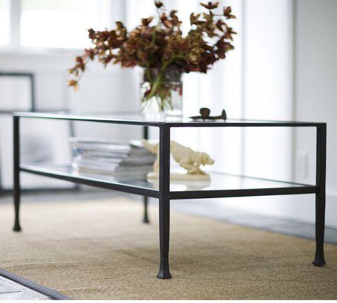 "rectangular glass coffee table with shelf!  24"" deep  $399 at PB"