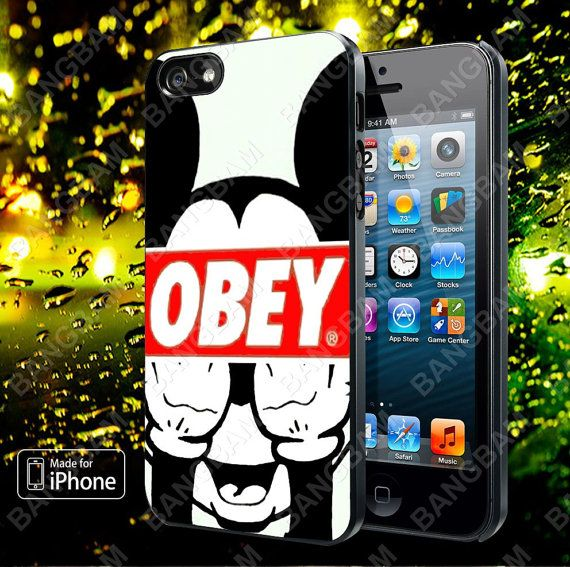 mickey mouse obey case for iphone 5 5s 5c 4 4s and by