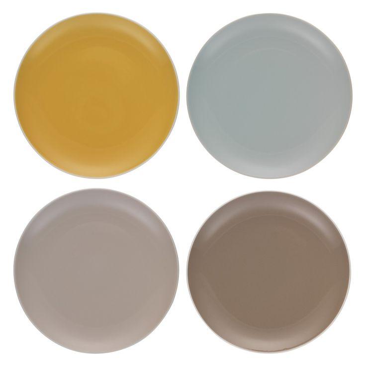 REX Set of 4 multi-coloured dinner plates D27.5cm