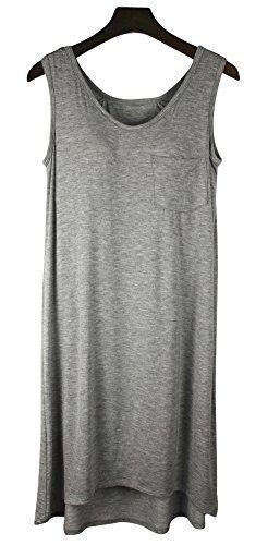 5278ec6465 Vocni Women Camisole Tank Top Dress Nightwear Sleepwear Lounge Dress with  Built-in Shelf Bra