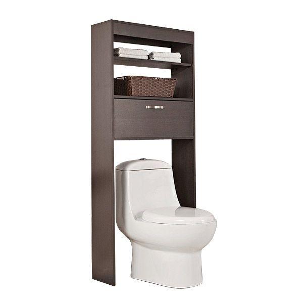 Mueble ahorrador de espacios. Con dos repisas y un cajón. Manija de aluminio. Requiere ensamble. Organizador para baño. Acabado Wengué. Medida 63 x 25 cm.
