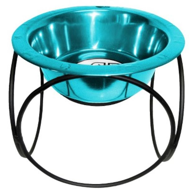 I'm learning all about Platinum Pets Olympic Diner Stand With Rimmed Embossed Dog Bowl Size Color Caribbean Teal at @Influenster!