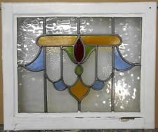 "OLD ENGLISH LEADED STAINED GLASS WINDOW Beautiful Abstract 20.75"" x 17.25"""