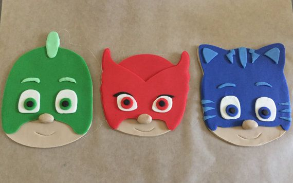 PJ Masks Inspired Cake Topper by PeaceLoveandCakeNY on Etsy