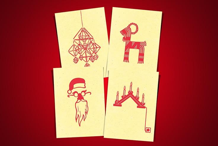 Hand printed Christmas cards.
