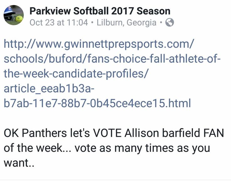 Go to gwinnett prep sports athlete of the week and vote today and tomorrow... The winner will be announced Friday Oct 27. Allison will very much appreciate the vote.She has worked very hard for 4 highschool Varsity seasons.