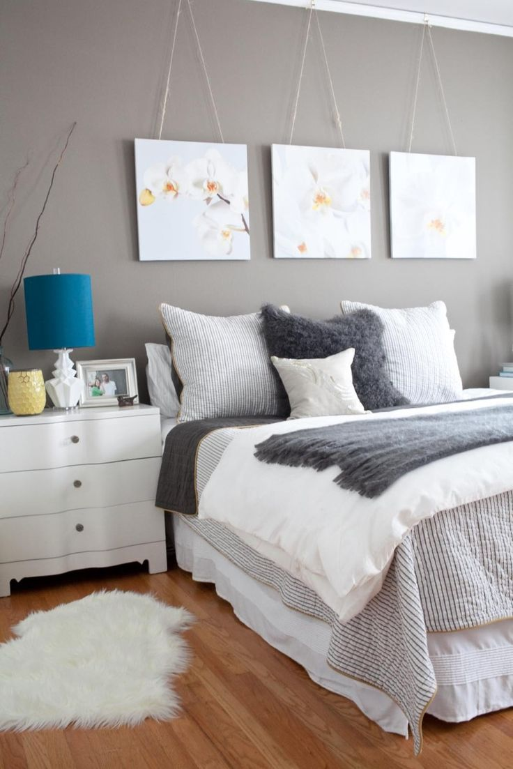 Grey Bedroom, love the 3 pictures
